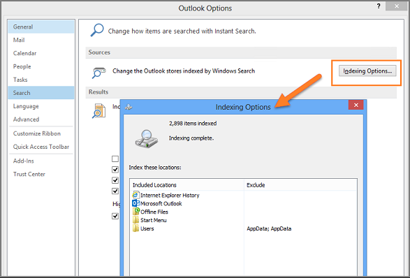Outlook Instant Search Not Working in Windows