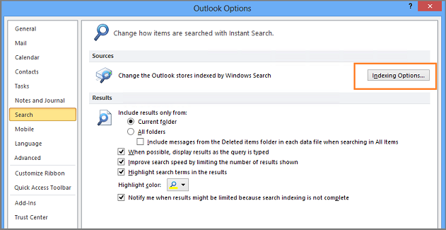 outlook 2017 search not working